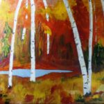Birches in Fall 18 x 24 acrylics
