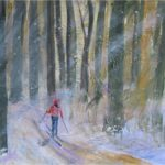 Skiing in Winter Woods