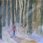 Skiing in Winter Woods