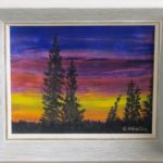 Sunset in Alaska  11.5 h x 13.5 w in frame acrylics
